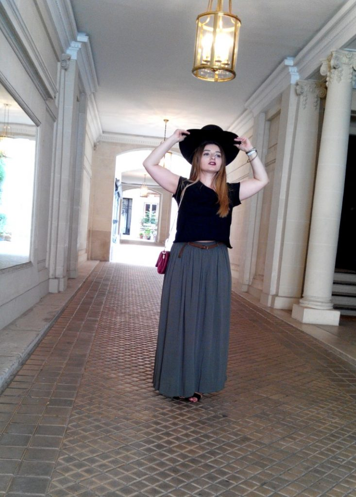 BLACK HAT & LONG KHAKI SKIRT