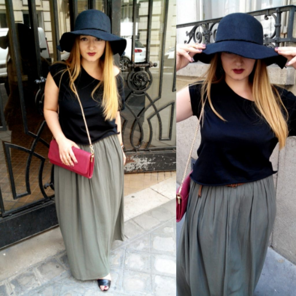 BLACK HAT & LONG KHAKI DRESS